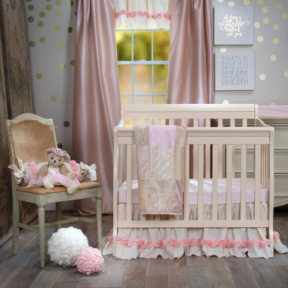Victoria Mini Crib Bedding Set by Glenna Jean | Baby Girl Nursery + Hand Crafted with Premium Quality Fabrics | Includes Sheet and Bed Skirt - Shop Baby Slings & wraps, Baby Bedding & Home Decor !