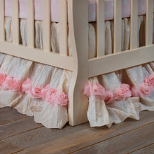 Load image into Gallery viewer, Victoria Mini Crib Dust Ruffle Mini Crib Skirt by Glenna Jean | Baby Girl Nursery + Hand Crafted with Premium Quality Fabrics - Shop Baby Slings & wraps, Baby Bedding & Home Decor !