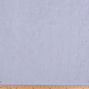 Purple Emb Dot on White Fabric
