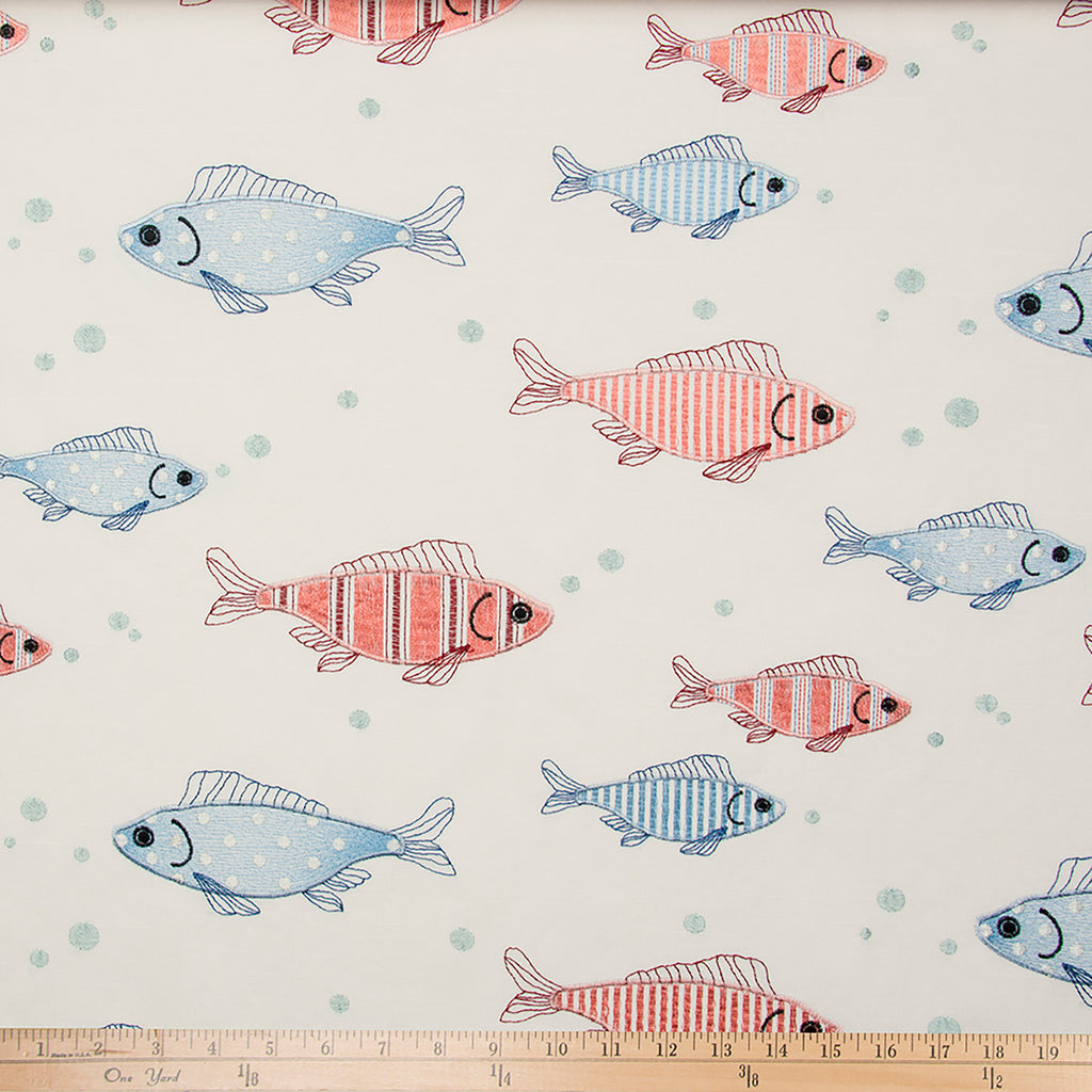 Fish Tales Embroidery Fabric - Shop Baby Slings & wraps, Baby Bedding & Home Decor !