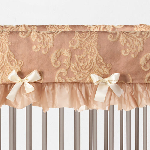 VIENNA BLUSH Crib Rail Protector (Short) (Damask) (Set of 2)