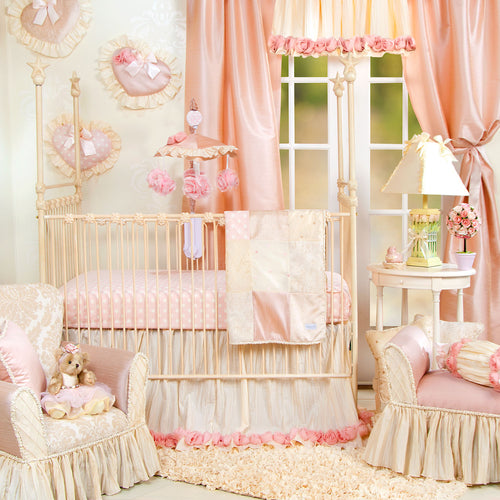 VICTORIA 3PC SET (INCLUDES QUILT, PINK/WHITE DOT SHEET, CRIB SKIRT) - Shop Baby Slings & wraps, Baby Bedding & Home Decor !