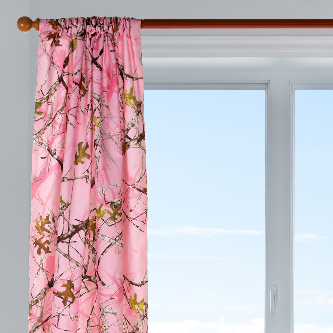 Camo Baby Pink Drapery Panel  (Approximately 90x40