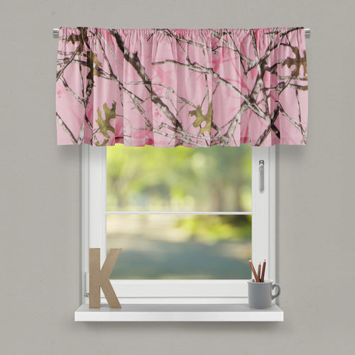 Camo Baby Pink Window Valance (Approximately 54
