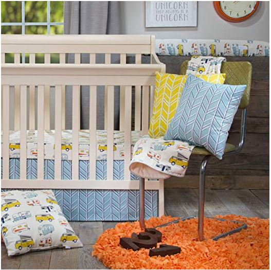 Happy Camper Mini Crib 2pc Set(Includes Mini Fitted sheet and Mini Crib Skirt) - Shop Baby Slings & wraps, Baby Bedding & Home Decor !