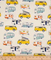 Happy Camper Print Fabric - Shop Baby Slings & wraps, Baby Bedding & Home Decor !