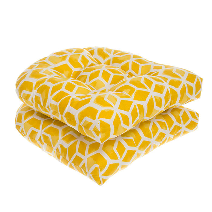 Cubed - Yellow Wicker Chair Cushion Pack of 2 19