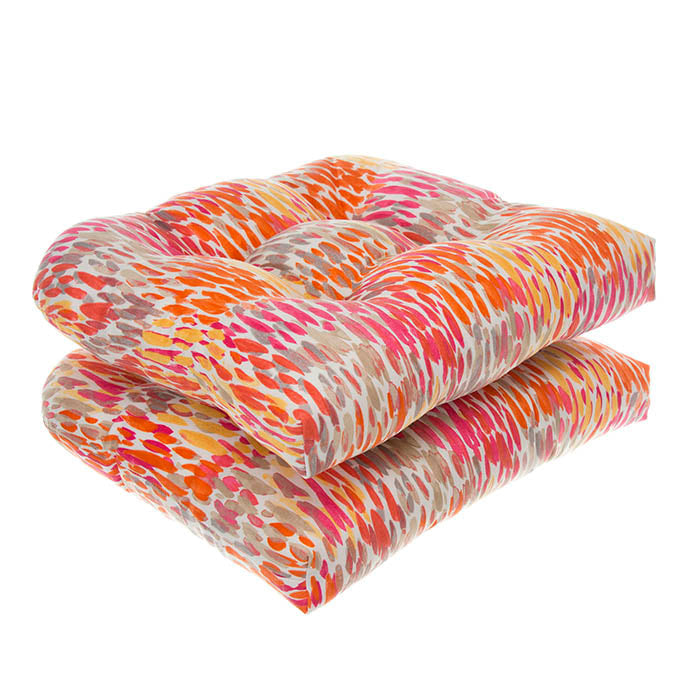 Peacock Feather - Orange Wicker Chair Cushion Pack of 2 19