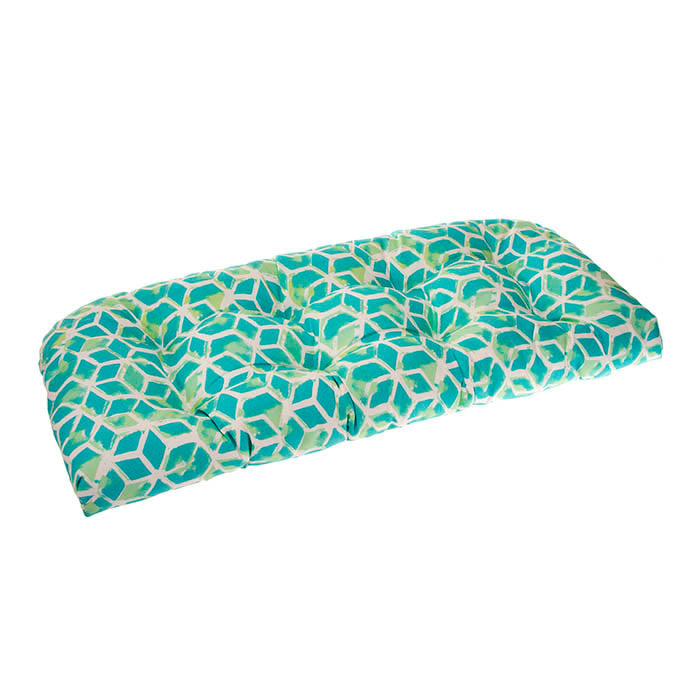 Cubed - Teal Wicker Loveseat Cushion 44