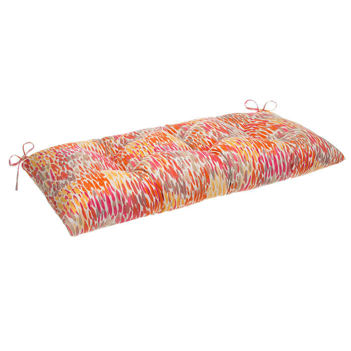 "Peacock Feather - Orange Tufted Loveseat Cushion 44""x18.5""x6"" - Shop Baby Slings & wraps, Baby Bedding & Home Decor !"