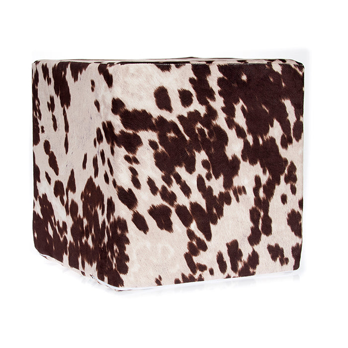Brown Faux Cowhide, Pouf 18