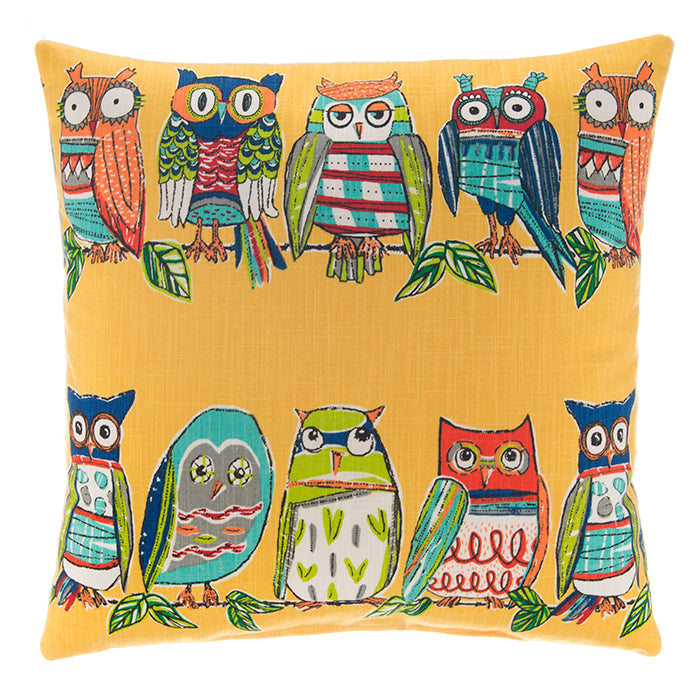 Hoot Yellow Pillow 18