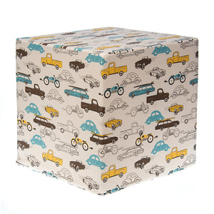 "Cars (Blue/Brown/Yellow) Pouf 17""x17""x17"" - Shop Baby Slings & wraps, Baby Bedding & Home Decor !"