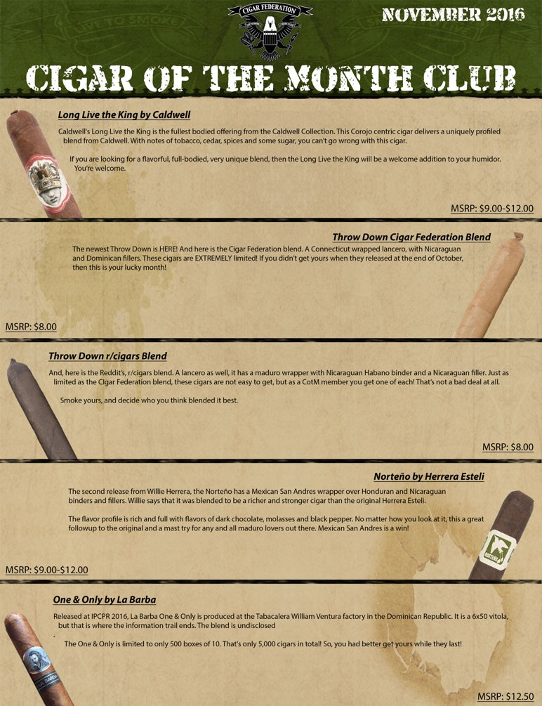 November 2016 Cigar of the Month Club
