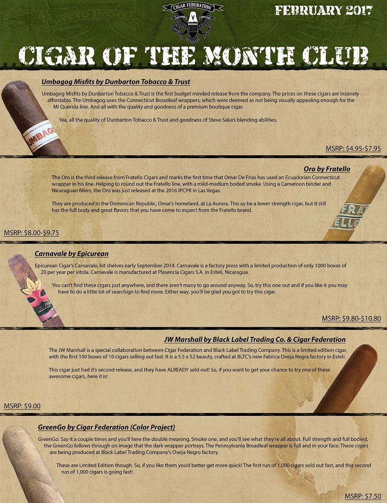 January 2017 Cigar of the Month Club