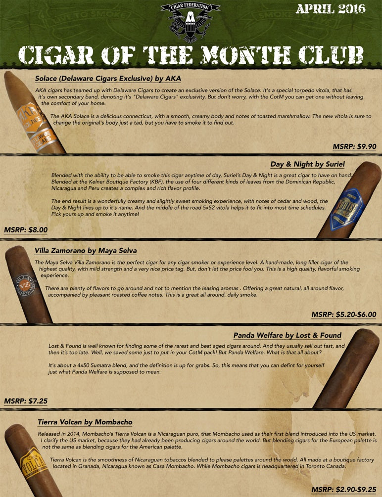 April 2016 Cigar of the Month Club