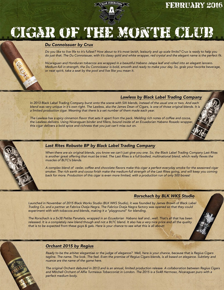February 2016 Cigar of the Month Club