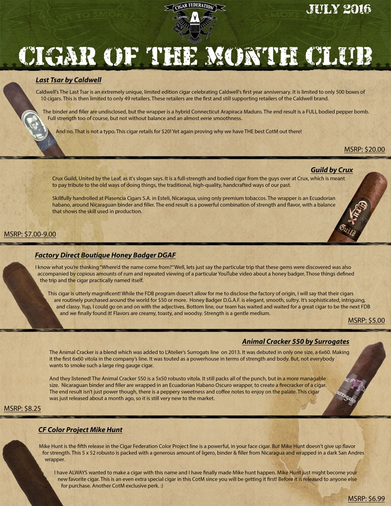 July 2016 Cigar of the Month Club