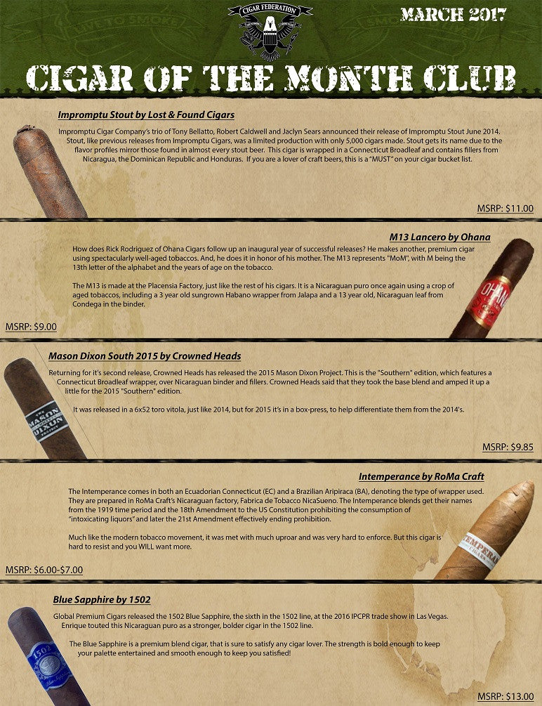 March 2017 Cigar of the Month Club