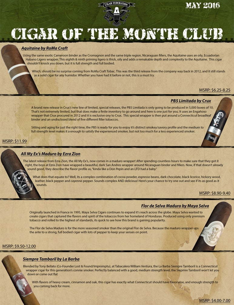 May 2016 Cigar of the Month Club