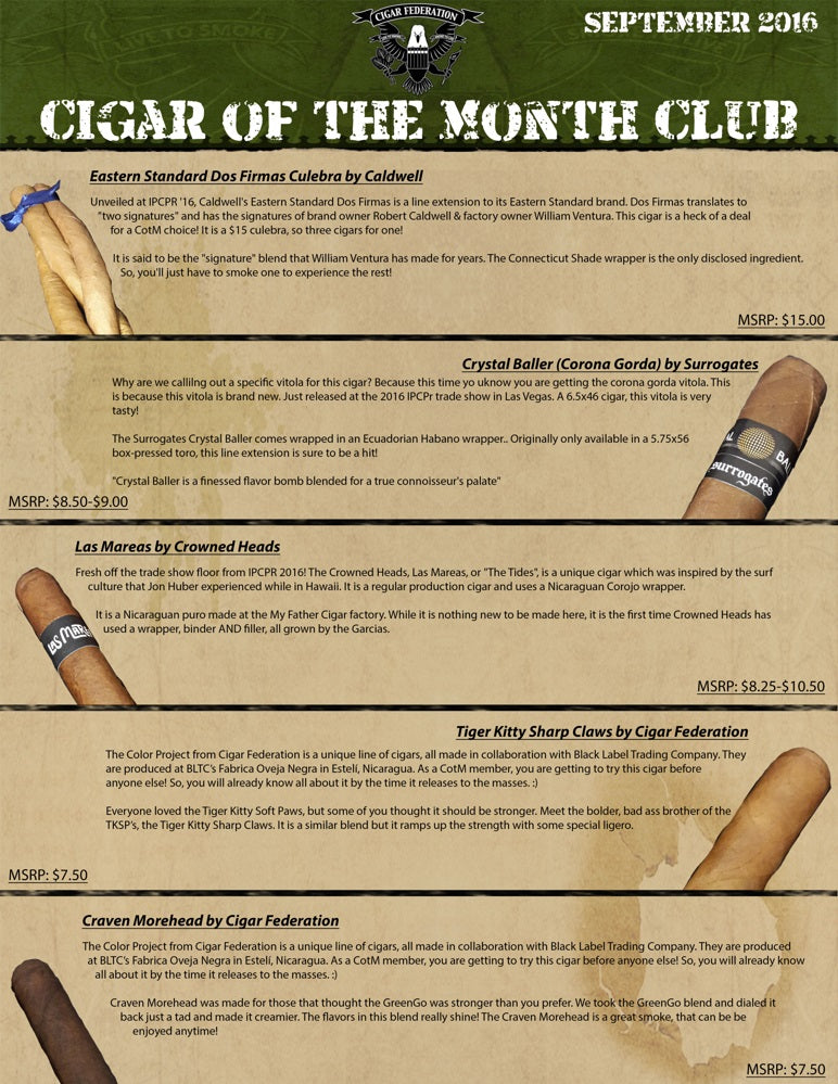 September 2016 Cigar of the Month Club