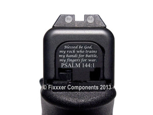FIXXXER Rear Cover Plate for Glock (Psalm 144 Design) Fits Most Models (Not G42, G43) and Generations (Not Gen 5)