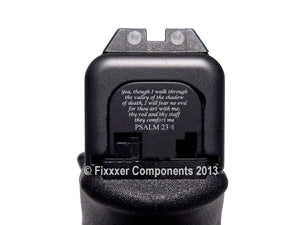 FIXXXER Rear Cover Plate for Glock (Psalm 23:4 Design) Fits Most Models (Not G42, G43) and Generations (Not Gen 5)