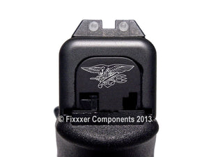 FIXXXER Rear Cover Plate for Glock (Navy Seals Trident Design) Fits Most Models (Not G42, G43) and Generations (Not Gen 5)