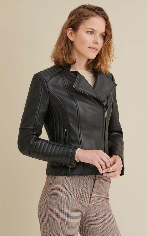 Alexis Quilted Leather Moto Jacket