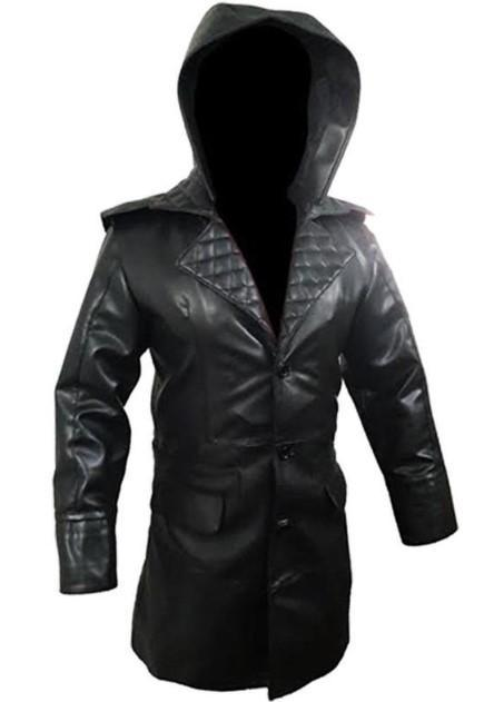 Genuine Black Trench Coat Real Cow Leather