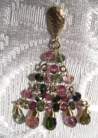 GoldPear Tourmaline Pyramid 5 Tear Earring