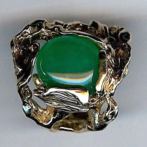 Wavy Vineleaf Chrysoprase Ring