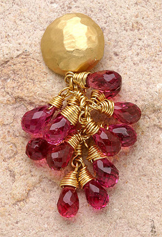 Minidome Hot Pink Tourmaline Tearvine Earring(18k)