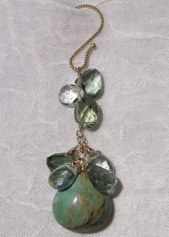 Apatite Mosaichain Green Turquoise Pear Earring