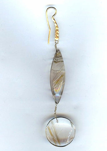 Rutilated Quartz Rapt Marquis Disc Hammerwire Earring