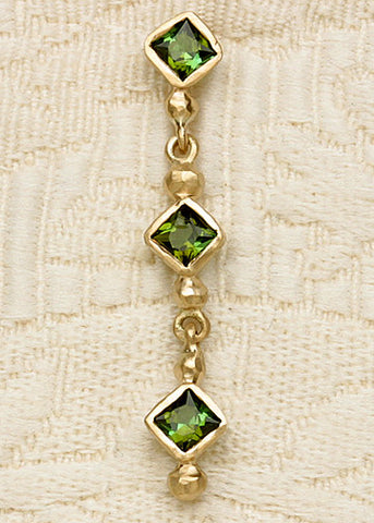 Green Tourmaline(2 cttw) 3 Square Earring