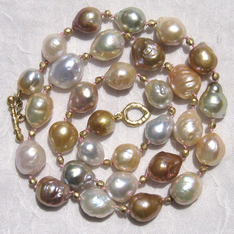 One of a Kind Baroque Kasumiga Pearl(12x10mm) GoldBall Festivity