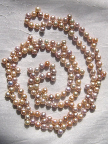 Long Educated Chinese Pastel Pearl Drop Necklace(46.in)