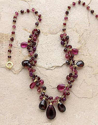 Rouge GoldBall Festival Necklace(Pk Tour/R.Garnet/Ruby)