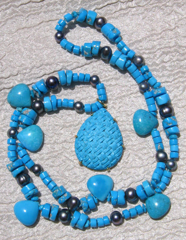 Sleeping Beauty Turquoise Disc/Pear/Pearl 22.in Necklace Large Woven Turquoise Pear