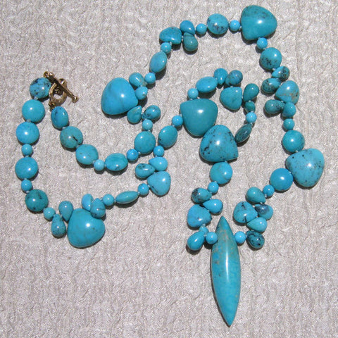 Sleeping Beauty Turquoise 17.in Desert Rainstorm Necklace