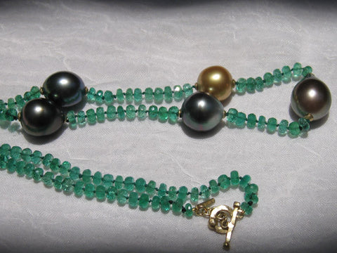 Emerald Tahitian Pearl Rainbow Necklace(18k)