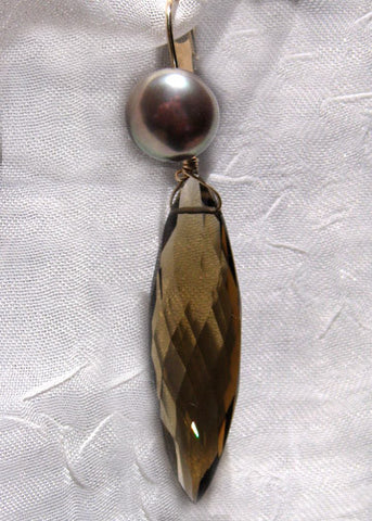 Bronze Button Pearl Champagne Quartz Icicle Earring