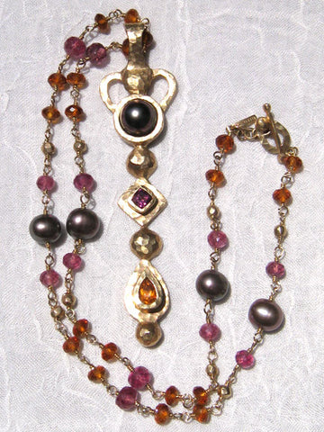 Pink Tourmaline Citrine Tahitian Pearl GoldBall Rapt Necklace/ Round Square Pear Sceptor