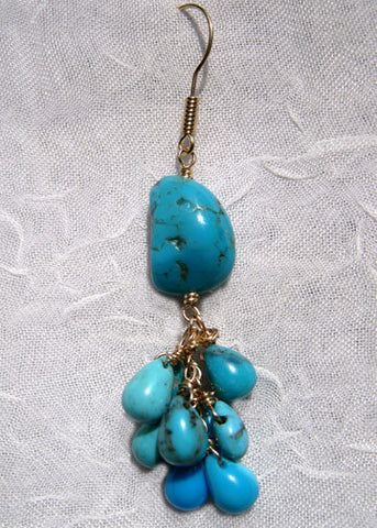 Turquoise Nugget Rainshower Earring