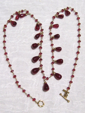 Red Spinel Rapt TearDrop Necklace