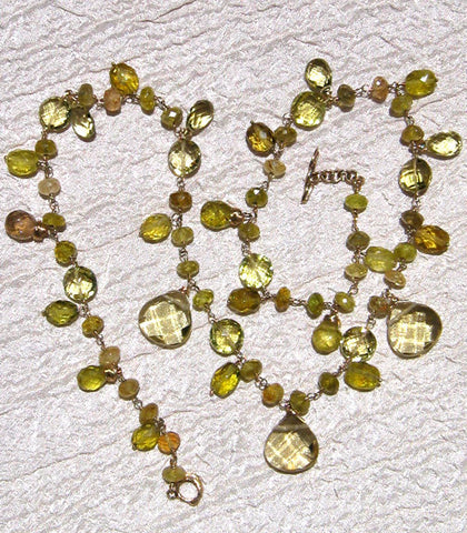 Thalia Rapt Lemon Quartz & Grossularite Garnet Necklace