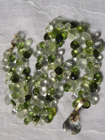 RainForest Pear TearDrop Ruffled Necklace / Mint Quartz Pendant (chrysoberyl/mint quartz/peridot/phr
