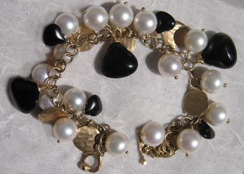 Pearl GoldCoin Jet Pear AnchorChain Bracelet