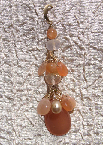 Peach Monnstone Pearl Fire Opal Sunrise Tearvine Earring